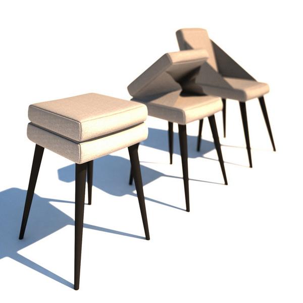 Stool Chair Leila Bar Stool Model4687 Delta Felt Grey
