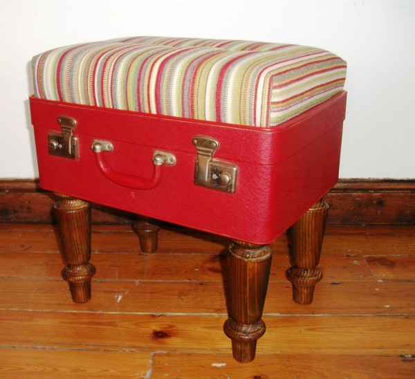 Suitcase Ottoman Red by Katie Thompson