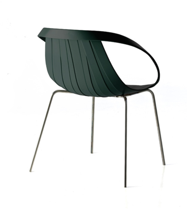 Impossible Wood Chair by Doshi Levien Green Back