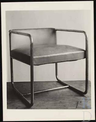 Photo of Van Doesburg tubular chair for his studio in Meudon