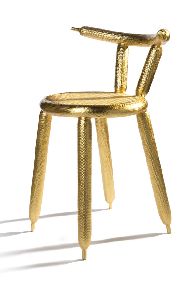 Golden Carbon Balloon Chair by Marcel Wanders