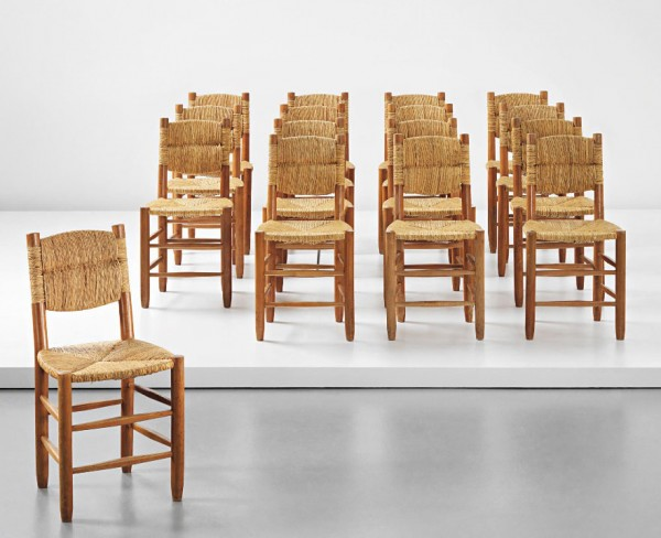 PHILLIPS - UK050314, Charlotte Perriand, Set of sixteen dining chairs, model no. 19, from 'L'Équipement de la Maison' series 2014-12-22 13-29-43