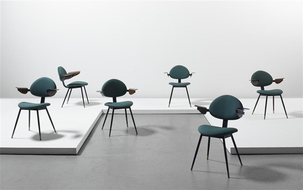 6 Lutrario Chairs  by Carlo Mollino