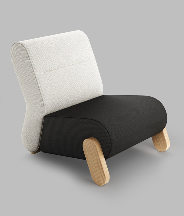 BASE Easy Chair by Redo Design Studio Black and White