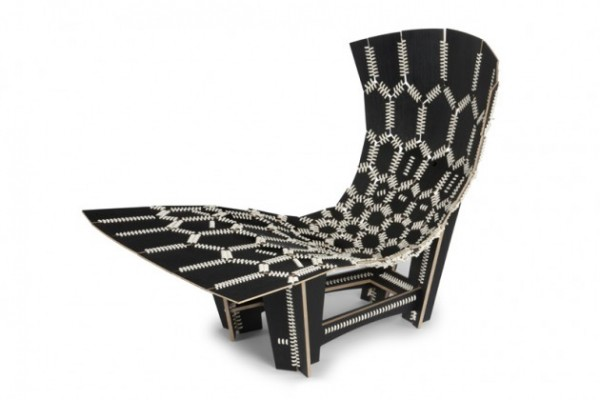 Black and White Knit chair by Emiliano Godoy