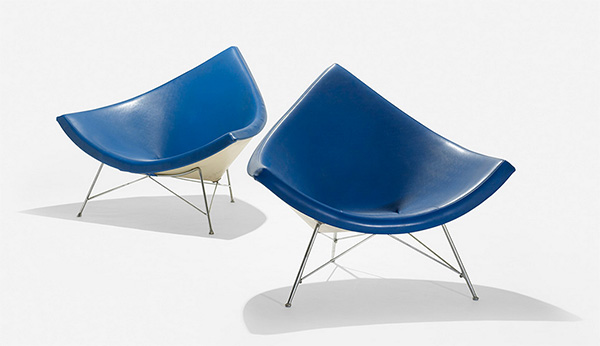 Blue Coconut Chairs by George Nelson