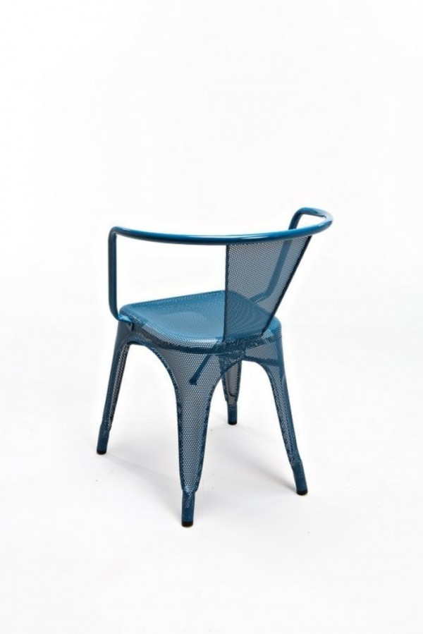 Blue Perforated A97 Tolix armchair by Chantal Andriot back