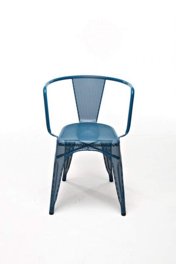 Blue Perforated A97 Tolix armchair by Chantal Andriot