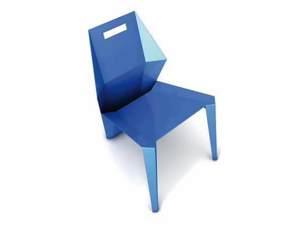 Modern Blue Monobloc by Mario Fragiotta Sideview