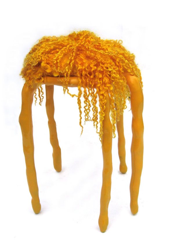 Orange Clay Stool by Maarten Baas