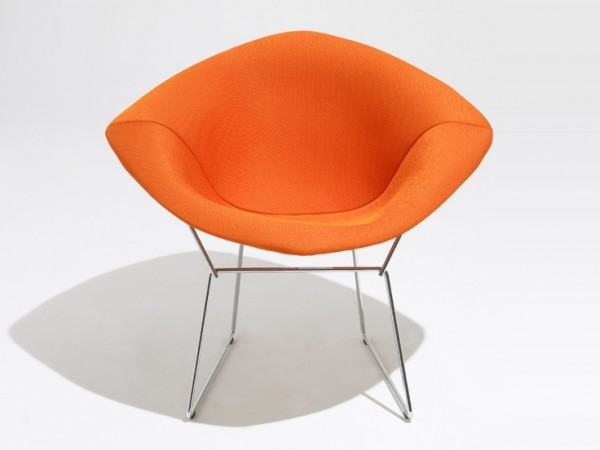 Orange Diamond Armchair by Harry Bertoia
