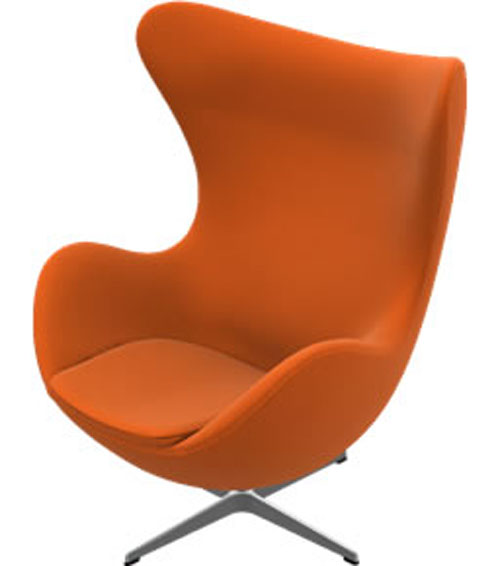 Orange Egg Chair by Arne Jacobsen-3316