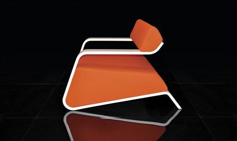 Orange Hyperlounge Chair by Bjorn Iggsten Sideview