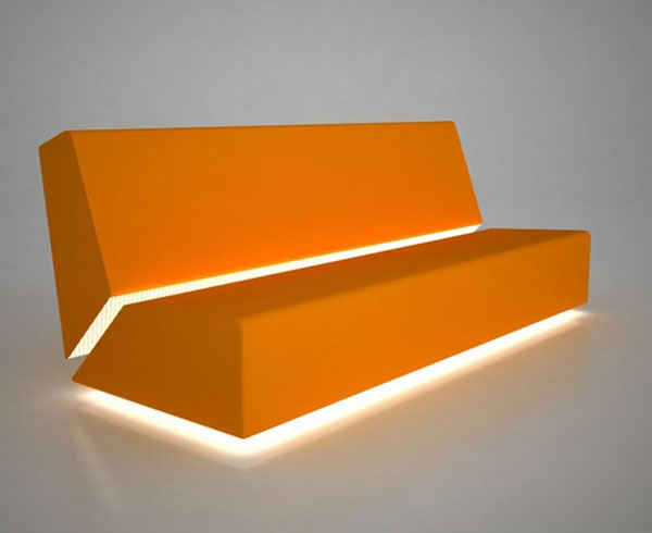 Orange M3 Illuminated Sofa by Belta Italy