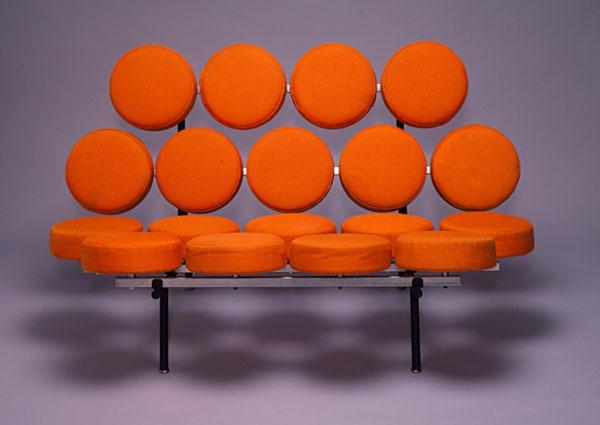 Orange Marshmallow Sofa by George Nelson