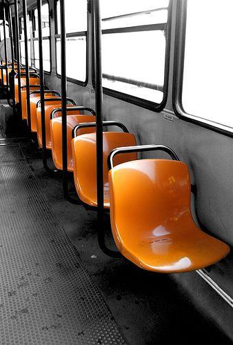 Orange Tram Chairs