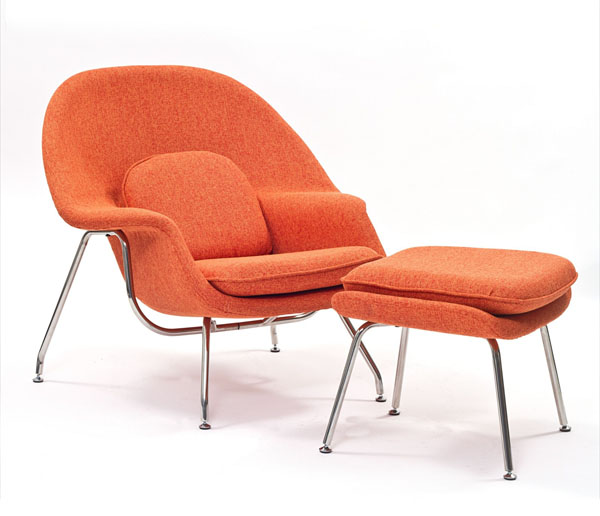 Orange Tweed Womb Chair by Eero Saarinen