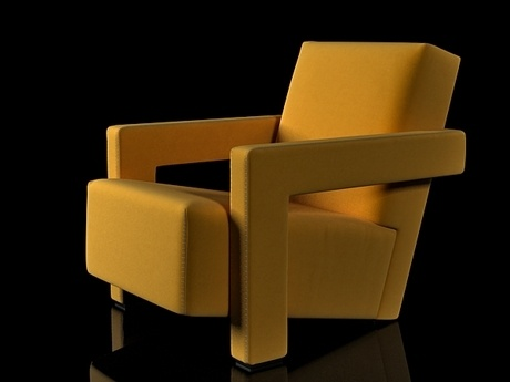 Orange Utrecht Chair by Gerrit Rietveld