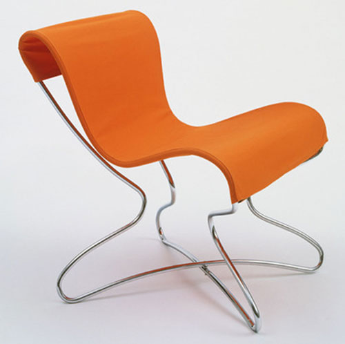 Orange folding Chair by Eva Zeisel