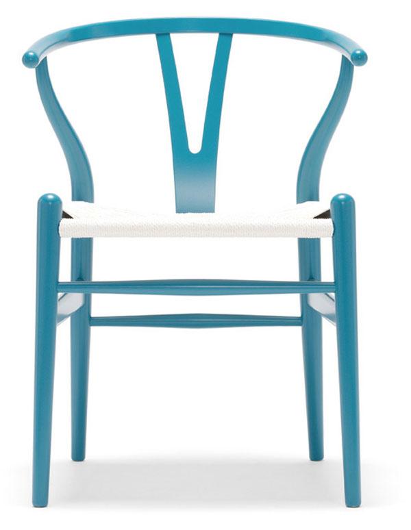 Blue Wishbone Chair by Hans Wegner