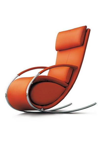orange leather & chrome rocking chair